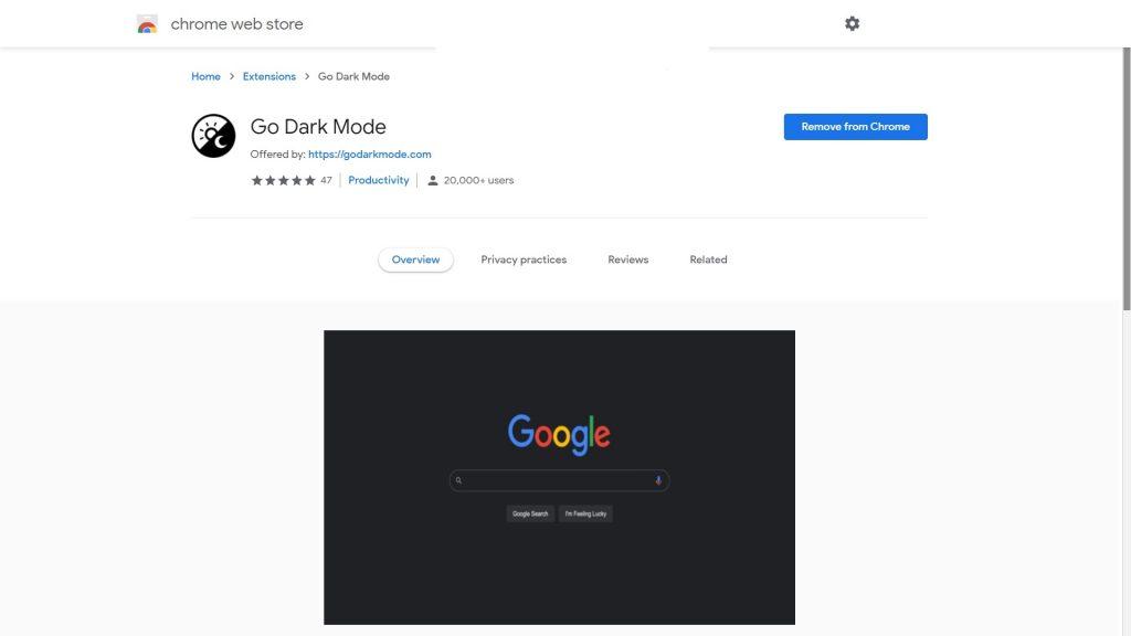chrome dark mode extension store